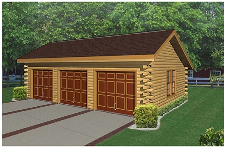 Home plan gallery the garages for Log home garage kits